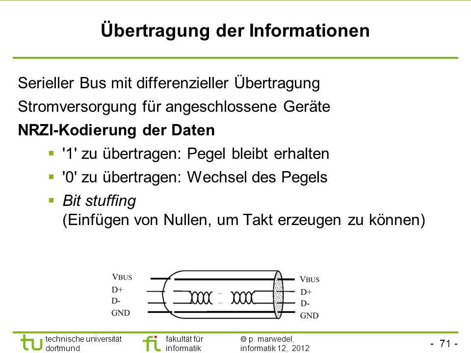 - 71 - technische universität dortmund fakultät für informatik p. marwedel, informatik 12, 2012 Übertragung der Informationen Serieller Bus mit differ