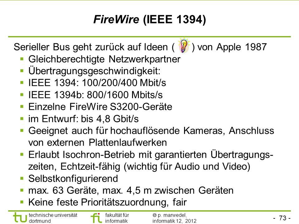- 73 - technische universität dortmund fakultät für informatik p. marwedel, informatik 12, 2012 FireWire (IEEE 1394) Serieller Bus geht zurück auf Ide