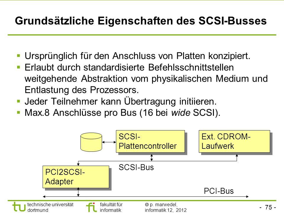 - 75 - technische universität dortmund fakultät für informatik p. marwedel, informatik 12, 2012 Grundsätzliche Eigenschaften des SCSI-Busses Ursprüngl