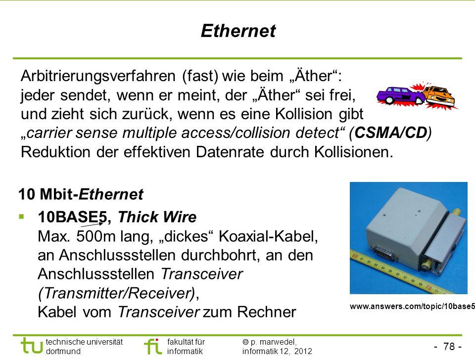 - 78 - technische universität dortmund fakultät für informatik p. marwedel, informatik 12, 2012 Ethernet Arbitrierungsverfahren (fast) wie beim Äther: