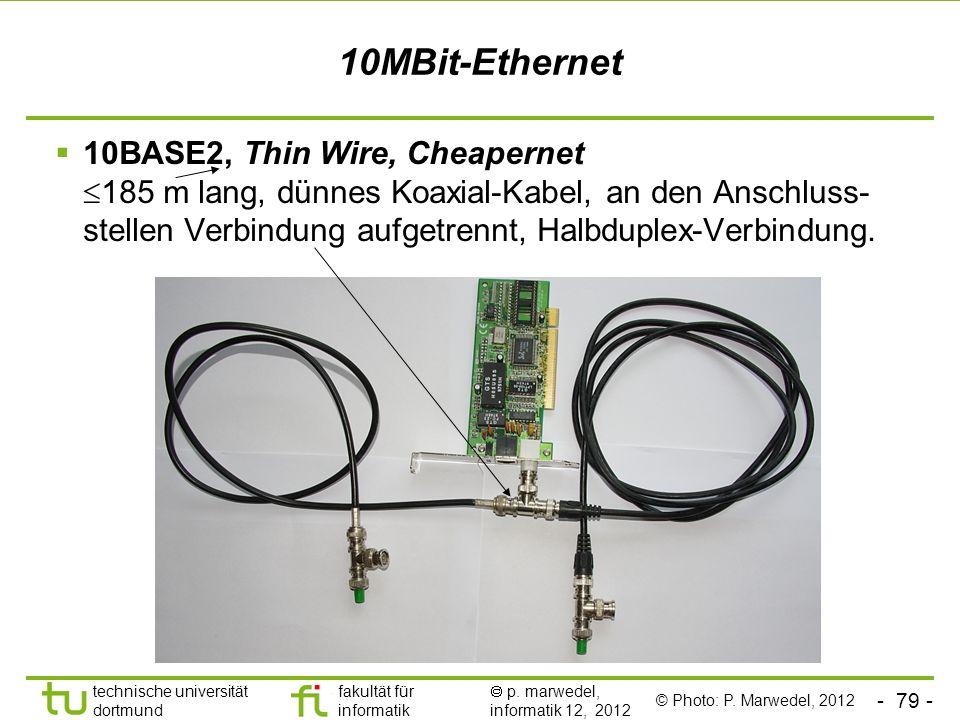 - 79 - technische universität dortmund fakultät für informatik p. marwedel, informatik 12, 2012 10MBit-Ethernet 10BASE2, Thin Wire, Cheapernet 185 m l