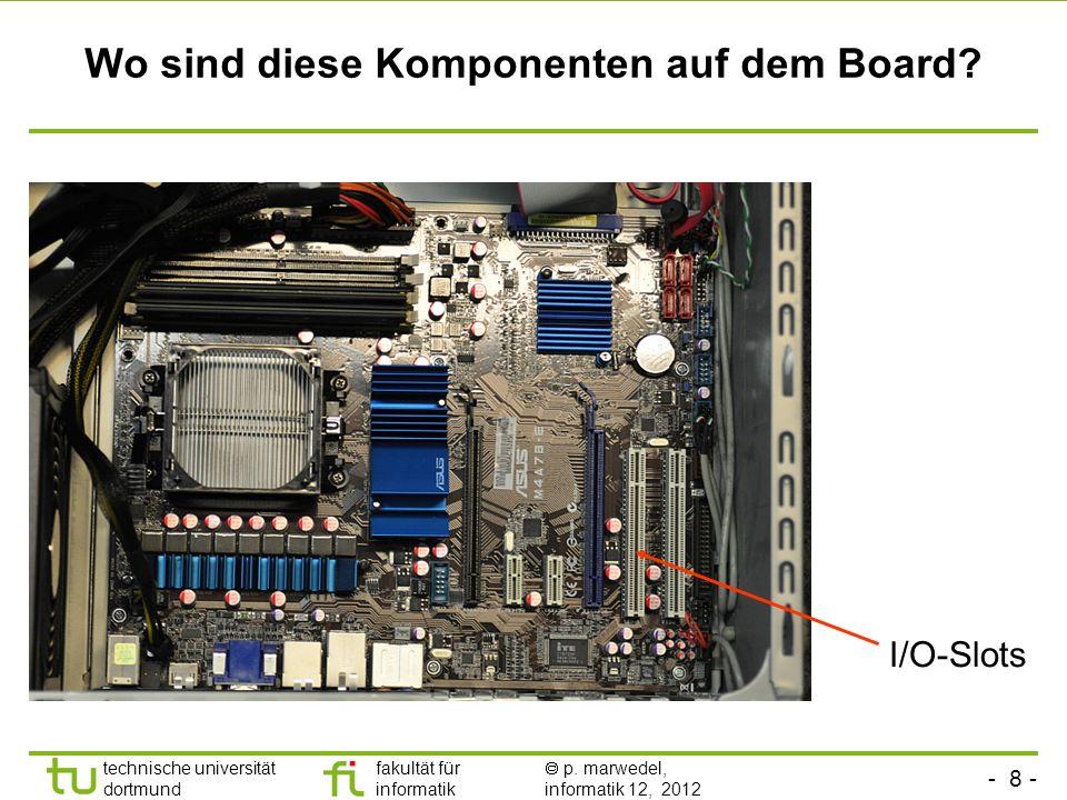 - 8 - technische universität dortmund fakultät für informatik p. marwedel, informatik 12, 2012 Wo sind diese Komponenten auf dem Board? I/O-Slots