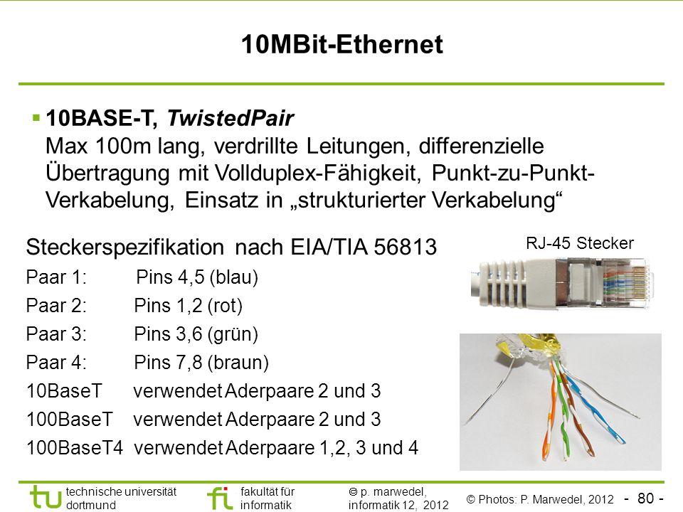 - 80 - technische universität dortmund fakultät für informatik p. marwedel, informatik 12, 2012 10MBit-Ethernet 10BASE-T, TwistedPair Max 100m lang, v