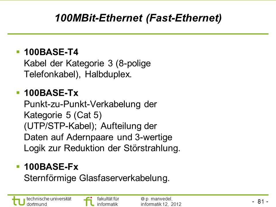 - 81 - technische universität dortmund fakultät für informatik p. marwedel, informatik 12, 2012 100MBit-Ethernet (Fast-Ethernet) 100BASE-T4 Kabel der