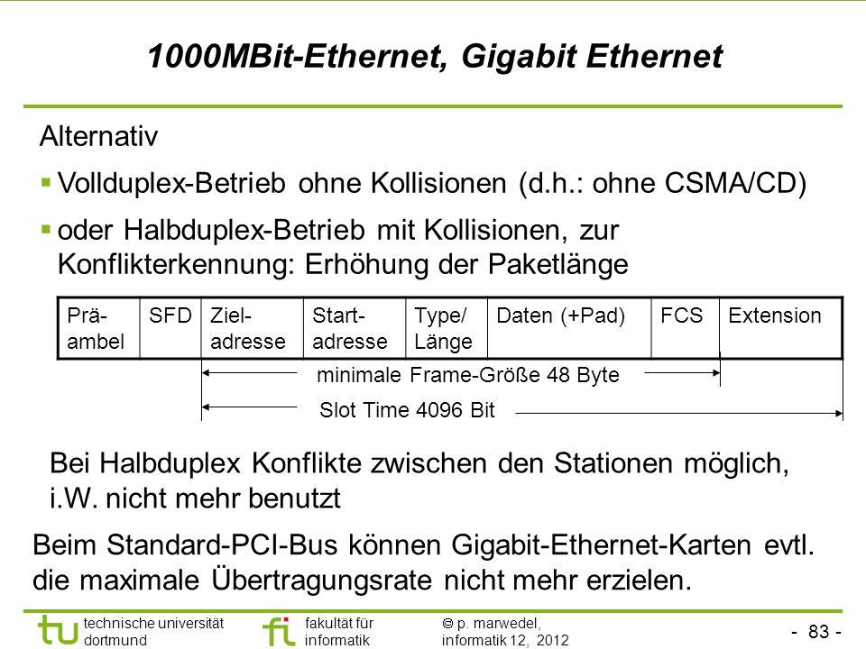 - 83 - technische universität dortmund fakultät für informatik p. marwedel, informatik 12, 2012 1000MBit-Ethernet, Gigabit Ethernet Alternativ Volldup