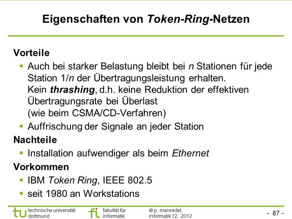 - 87 - technische universität dortmund fakultät für informatik p. marwedel, informatik 12, 2012 Eigenschaften von Token-Ring-Netzen Vorteile Auch bei