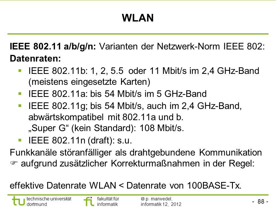 - 88 - technische universität dortmund fakultät für informatik p. marwedel, informatik 12, 2012 WLAN IEEE 802.11 a/b/g/n: Varianten der Netzwerk-Norm