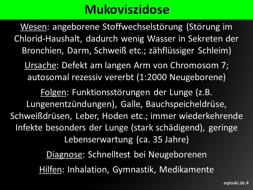 eqiooki.de.4 Mukoviszidose Wesen: angeborene Stoffwechselstörung (Störung im Chlorid-Haushalt, dadurch wenig Wasser in Sekreten der Bronchien, Darm, S