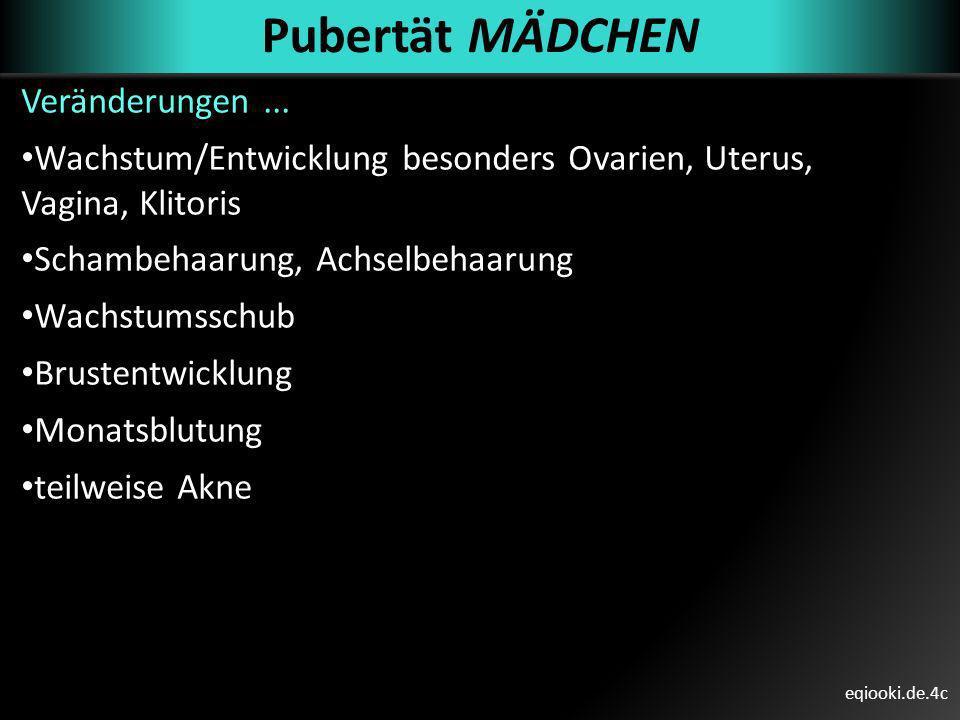 eqiooki.de.4c Pubertät MÄDCHEN Veränderungen... Wachstum/Entwicklung besonders Ovarien, Uterus, Vagina, Klitoris Schambehaarung, Achselbehaarung Wachs