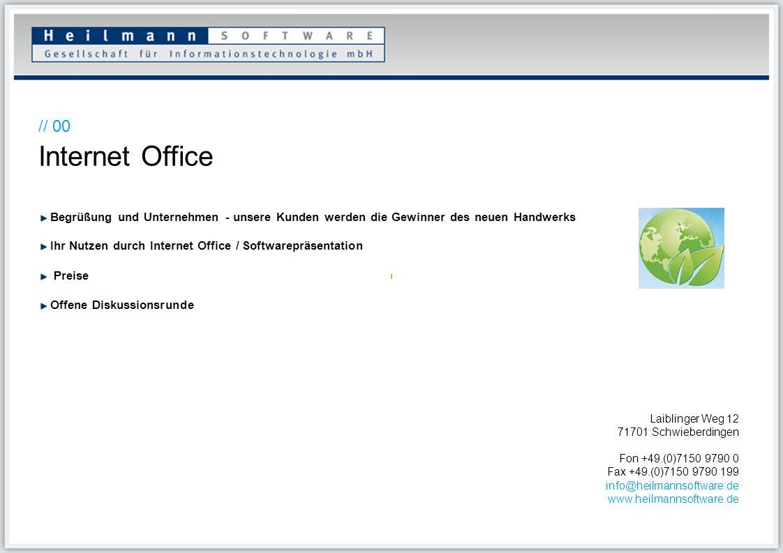// 00 Internet Office Begrüßung und Unternehmen - unsere Kunden werden die Gewinner des neuen Handwerks Ihr Nutzen durch Internet Office / Softwareprä