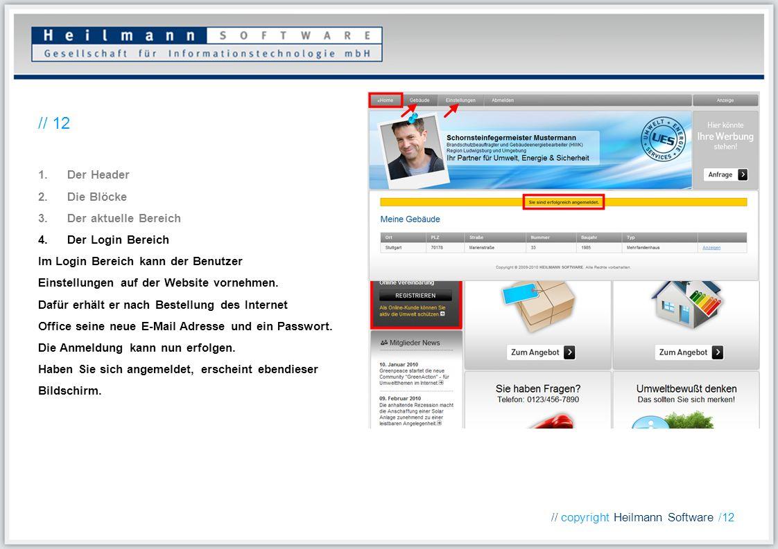 1.Der Header 2.Die Blöcke 3.Der aktuelle Bereich 4.Der Login Bereich Im Login Bereich kann der Benutzer Einstellungen auf der Website vornehmen. Dafür