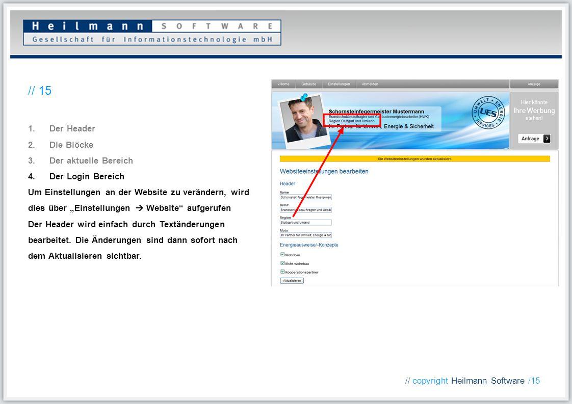 1.Der Header 2.Die Blöcke 3.Der aktuelle Bereich 4.Der Login Bereich Um Einstellungen an der Website zu verändern, wird dies über Einstellungen Websit