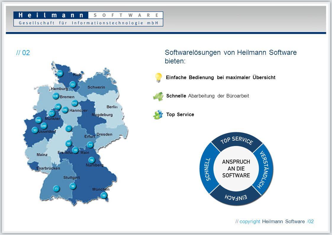 Einfache Bedienung bei maximaler Übersicht Schnelle Abarbeitung der Büroarbeit Top Service Softwarelösungen von Heilmann Software bieten: // 02 // cop
