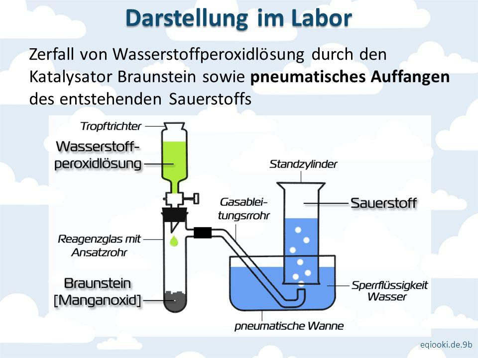 eqiooki.de.9b Zerfall von Wasserstoffperoxidlösung durch den Katalysator Braunstein sowie pneumatisches Auffangen des entstehenden Sauerstoffs Darstel