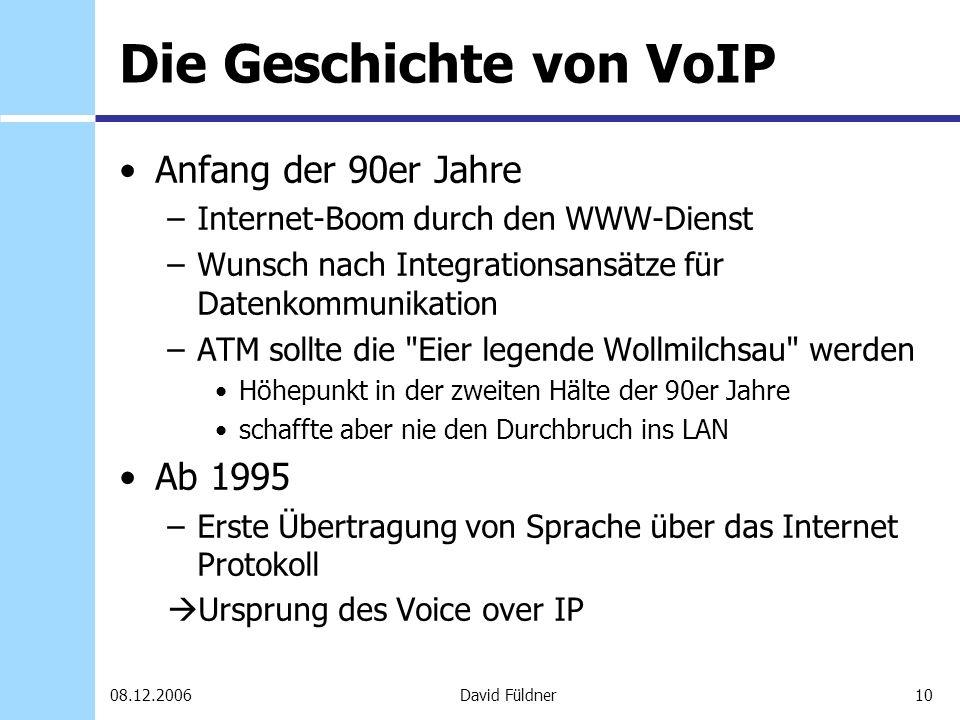 10David Füldner08.12.2006 Die Geschichte von VoIP Anfang der 90er Jahre –Internet-Boom durch den WWW-Dienst –Wunsch nach Integrationsansätze für Daten