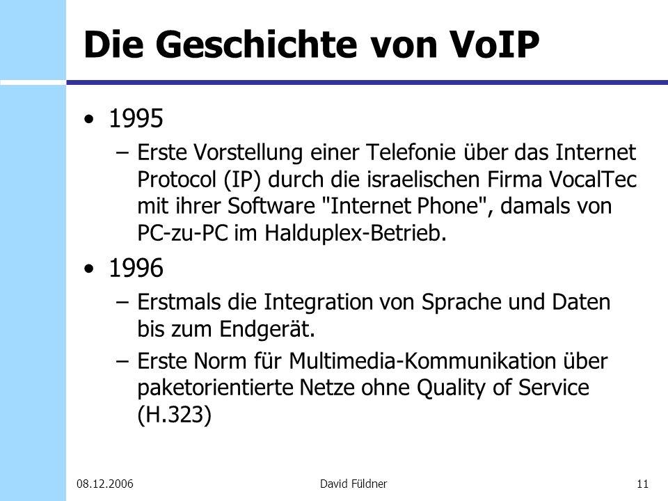 11David Füldner08.12.2006 Die Geschichte von VoIP 1995 –Erste Vorstellung einer Telefonie über das Internet Protocol (IP) durch die israelischen Firma
