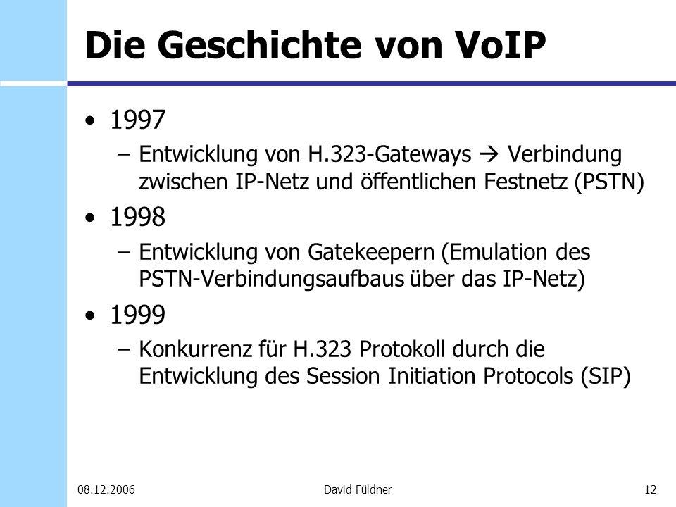12David Füldner08.12.2006 Die Geschichte von VoIP 1997 –Entwicklung von H.323-Gateways Verbindung zwischen IP-Netz und öffentlichen Festnetz (PSTN) 19