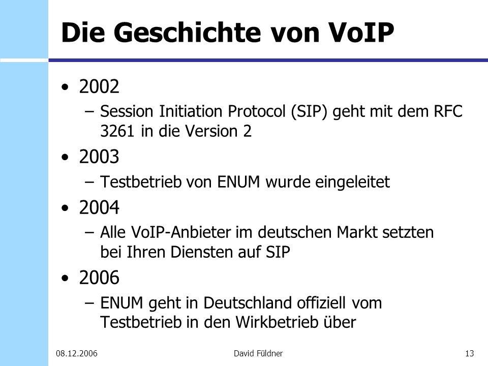 13David Füldner08.12.2006 Die Geschichte von VoIP 2002 –Session Initiation Protocol (SIP) geht mit dem RFC 3261 in die Version 2 2003 –Testbetrieb von