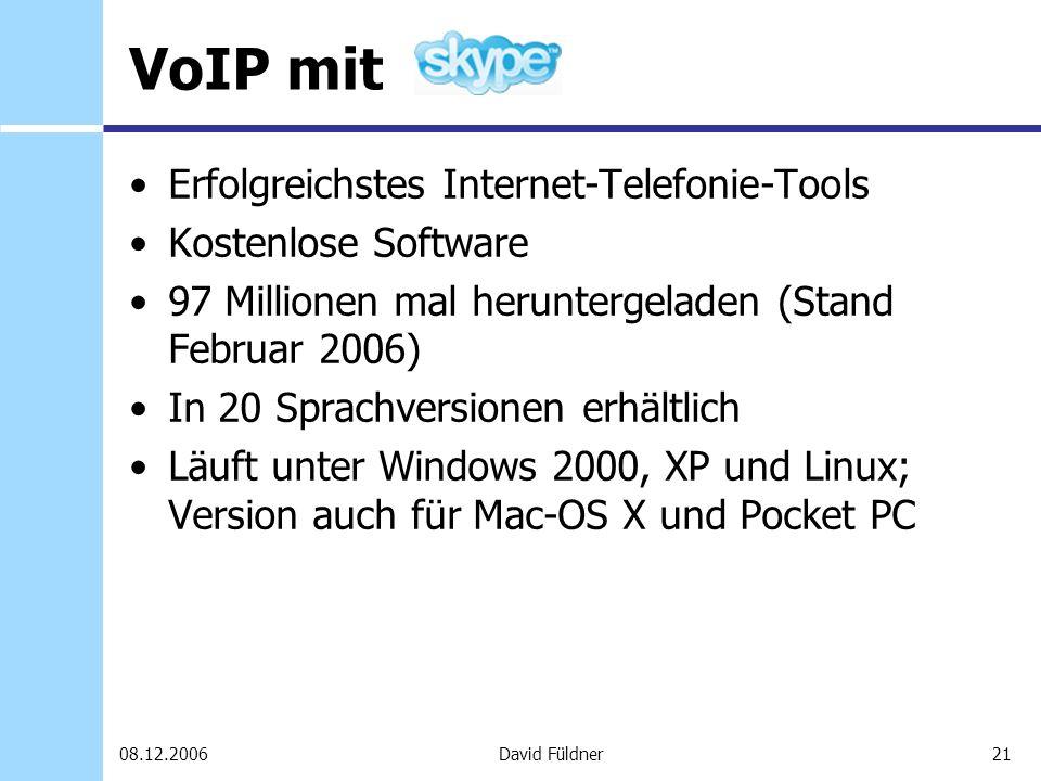 21David Füldner08.12.2006 VoIP mit Erfolgreichstes Internet-Telefonie-Tools Kostenlose Software 97 Millionen mal heruntergeladen (Stand Februar 2006)