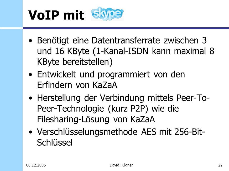 22David Füldner08.12.2006 VoIP mit Benötigt eine Datentransferrate zwischen 3 und 16 KByte (1-Kanal-ISDN kann maximal 8 KByte bereitstellen) Entwickel