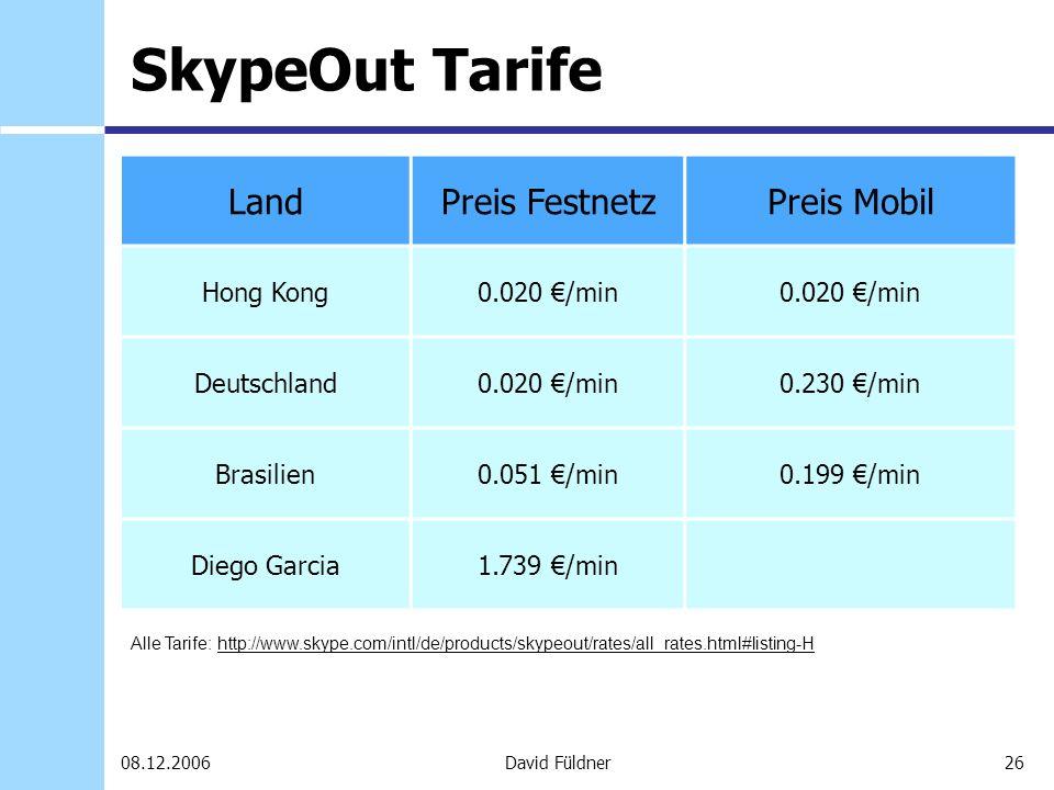 26David Füldner08.12.2006 SkypeOut Tarife LandPreis FestnetzPreis Mobil Hong Kong0.020 /min Deutschland0.020 /min0.230 /min Brasilien0.051 /min0.199 /