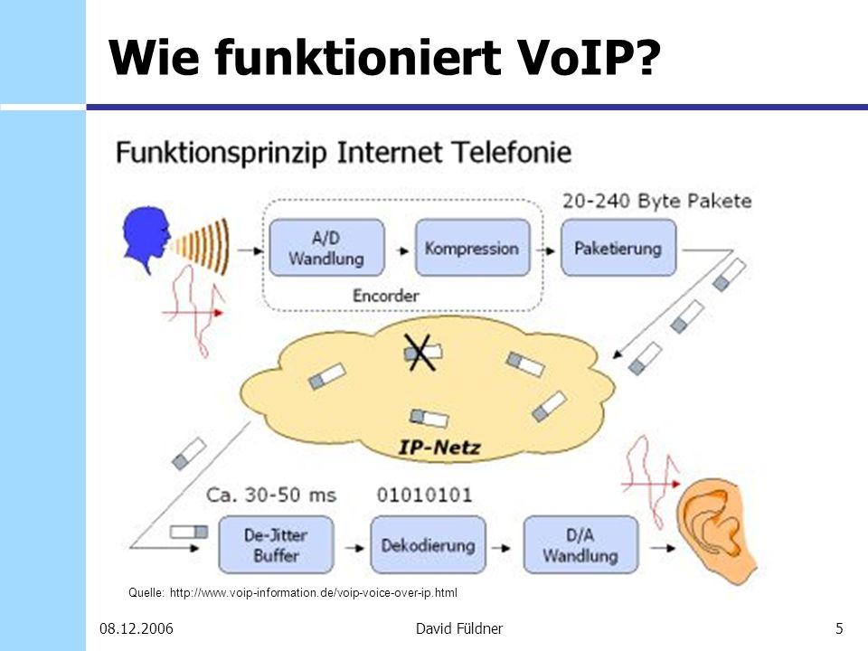 5David Füldner08.12.2006 Wie funktioniert VoIP? Quelle: http://www.voip-information.de/voip-voice-over-ip.html
