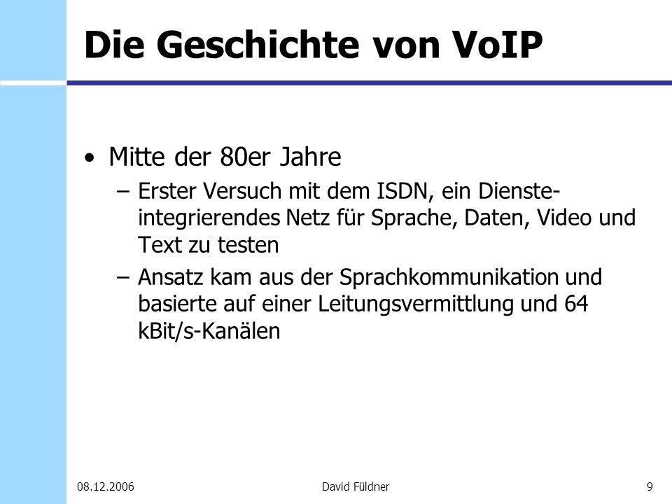 20David Füldner08.12.2006 Client-Software Skype Sipps (Hersteller: Nero AG) –Name von Session Initiation Protocol abgeleitet Microsoft Netmeeting (MSN) ICQ mit Push2Talk Funktion Google Talk Yahoo Messenger u.v.m.