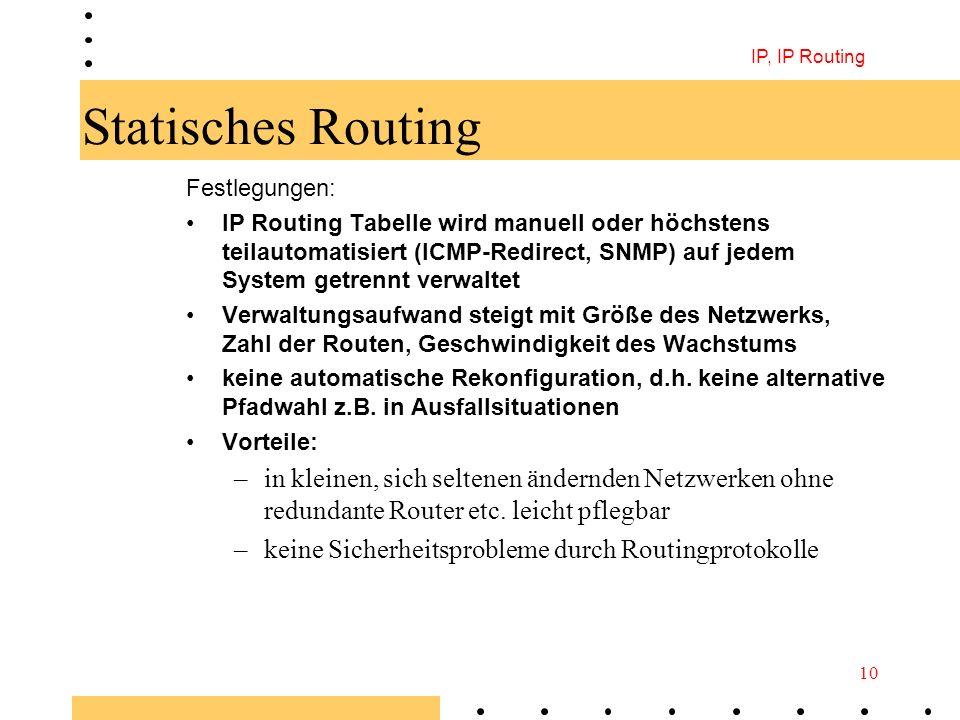 IP, IP Routing 10 Statisches Routing Festlegungen: IP Routing Tabelle wird manuell oder höchstens teilautomatisiert (ICMP-Redirect, SNMP) auf jedem Sy