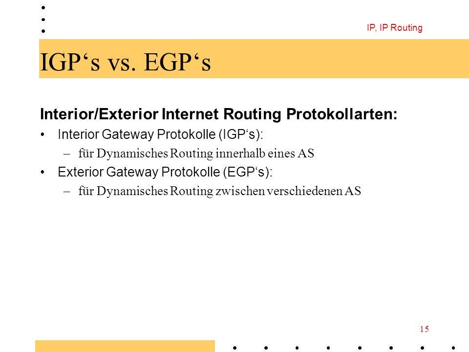 IP, IP Routing 15 IGPs vs. EGPs Interior/Exterior Internet Routing Protokollarten: Interior Gateway Protokolle (IGPs): –für Dynamisches Routing innerh