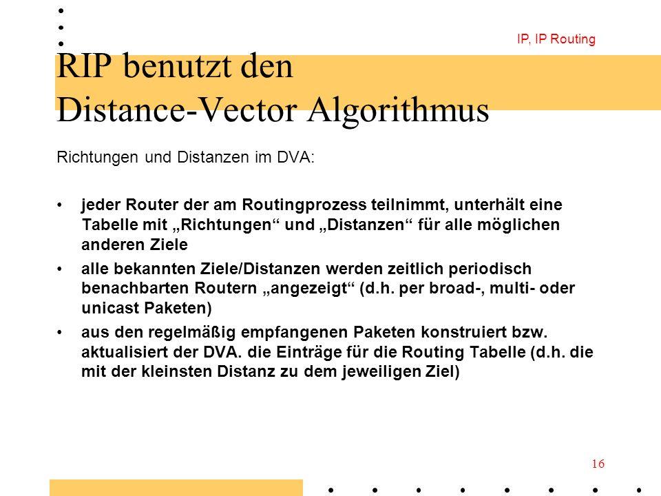 IP, IP Routing 16 RIP benutzt den Distance-Vector Algorithmus Richtungen und Distanzen im DVA: jeder Router der am Routingprozess teilnimmt, unterhält