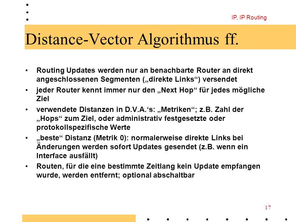 IP, IP Routing 17 Distance-Vector Algorithmus ff. Routing Updates werden nur an benachbarte Router an direkt angeschlossenen Segmenten (direkte Links)