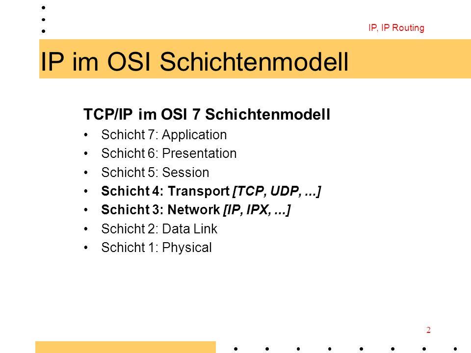 IP, IP Routing 2 IP im OSI Schichtenmodell TCP/IP im OSI 7 Schichtenmodell Schicht 7: Application Schicht 6: Presentation Schicht 5: Session Schicht 4