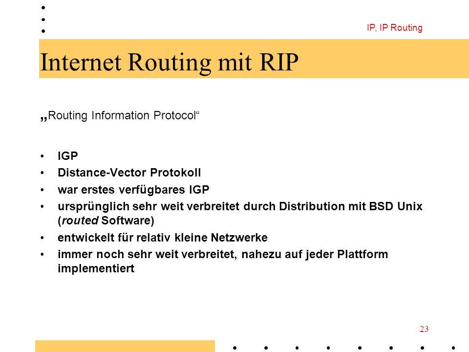 IP, IP Routing 23 Internet Routing mit RIP Routing Information Protocol IGP Distance-Vector Protokoll war erstes verfügbares IGP ursprünglich sehr wei