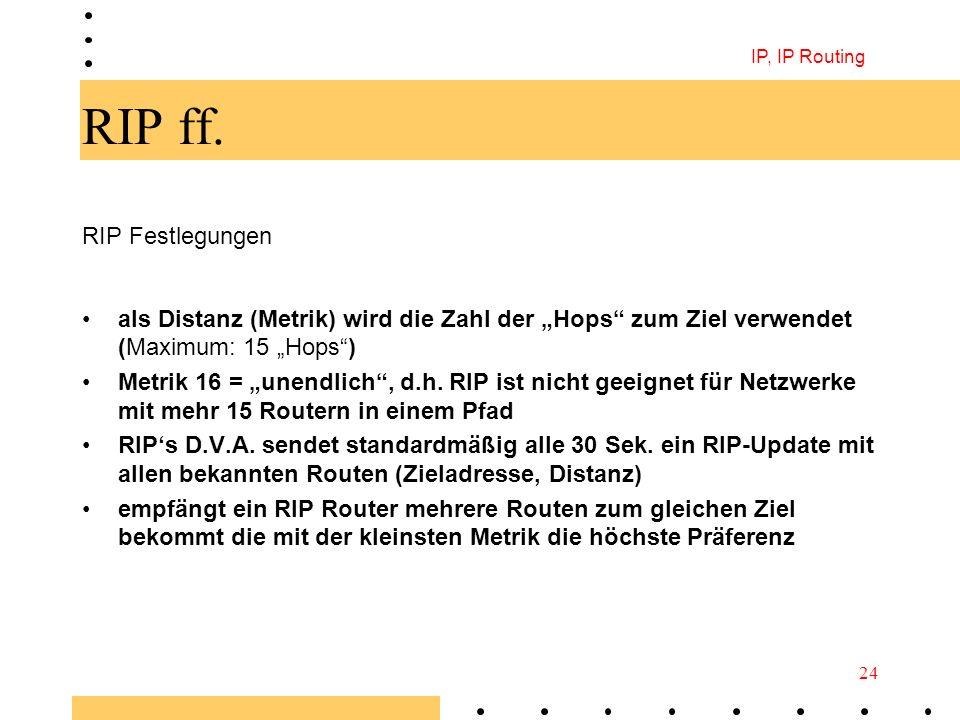 IP, IP Routing 24 RIP ff. RIP Festlegungen als Distanz (Metrik) wird die Zahl der Hops zum Ziel verwendet (Maximum: 15 Hops) Metrik 16 = unendlich, d.
