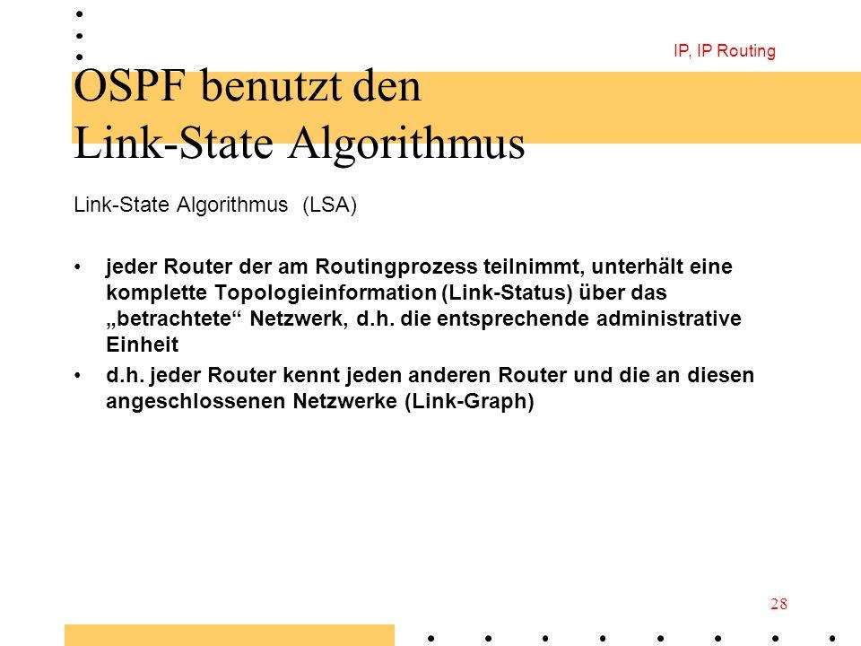 IP, IP Routing 28 OSPF benutzt den Link-State Algorithmus Link-State Algorithmus (LSA) jeder Router der am Routingprozess teilnimmt, unterhält eine ko