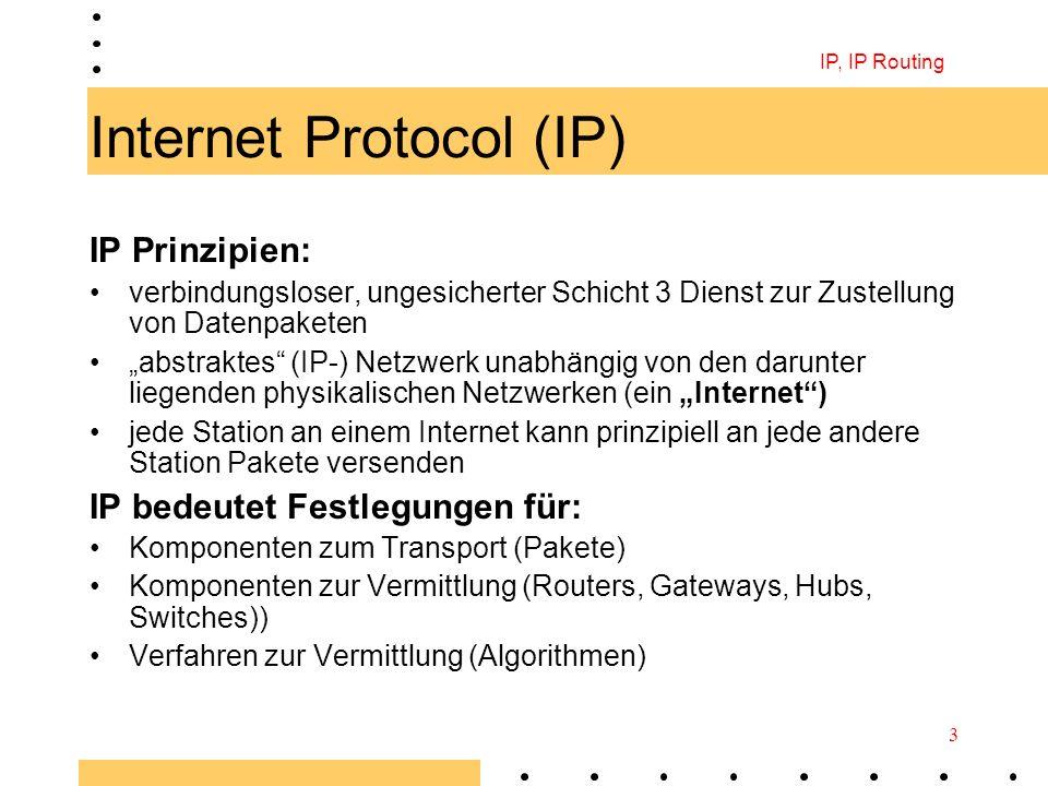 IP, IP Routing 3 Internet Protocol (IP) IP Prinzipien: verbindungsloser, ungesicherter Schicht 3 Dienst zur Zustellung von Datenpaketen abstraktes (IP