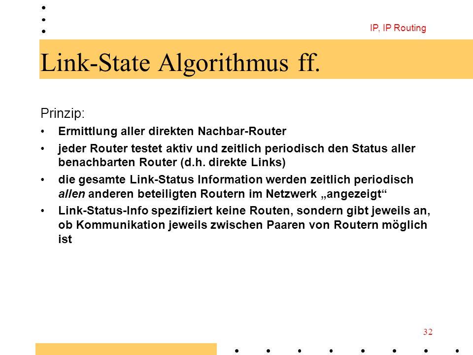 IP, IP Routing 32 Link-State Algorithmus ff. Prinzip: Ermittlung aller direkten Nachbar-Router jeder Router testet aktiv und zeitlich periodisch den S