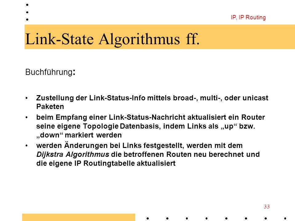 IP, IP Routing 33 Link-State Algorithmus ff. Buchführung : Zustellung der Link-Status-Info mittels broad-, multi-, oder unicast Paketen beim Empfang e