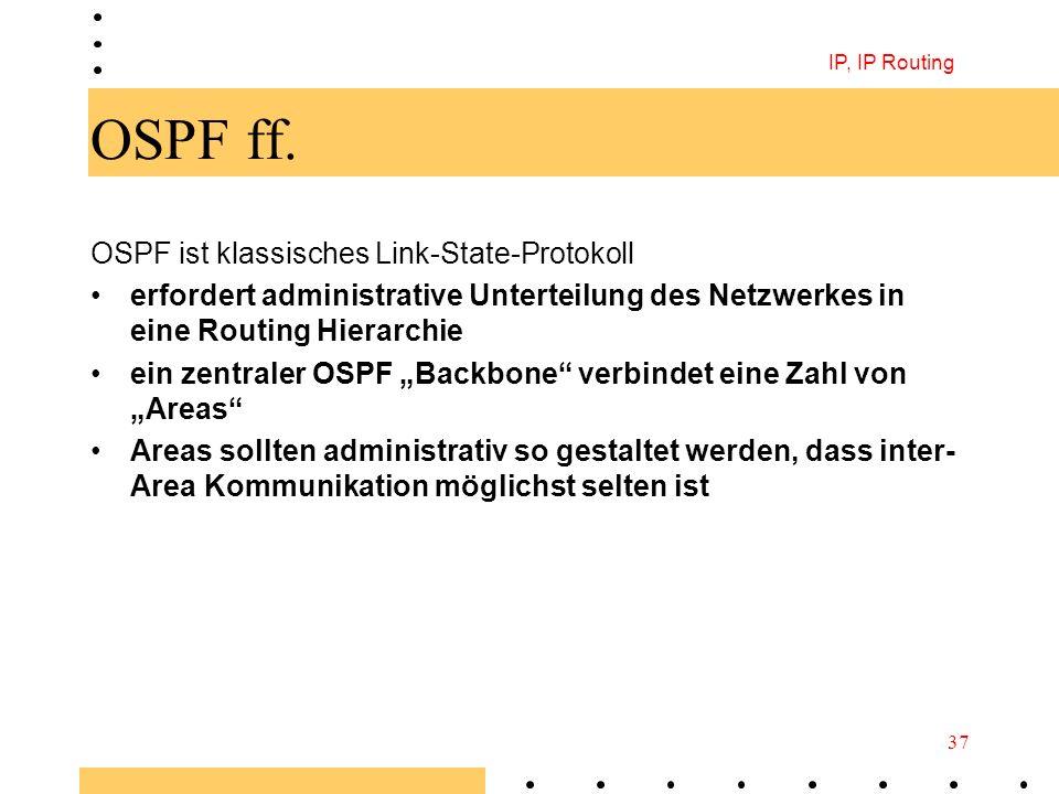 IP, IP Routing 37 OSPF ff. OSPF ist klassisches Link-State-Protokoll erfordert administrative Unterteilung des Netzwerkes in eine Routing Hierarchie e