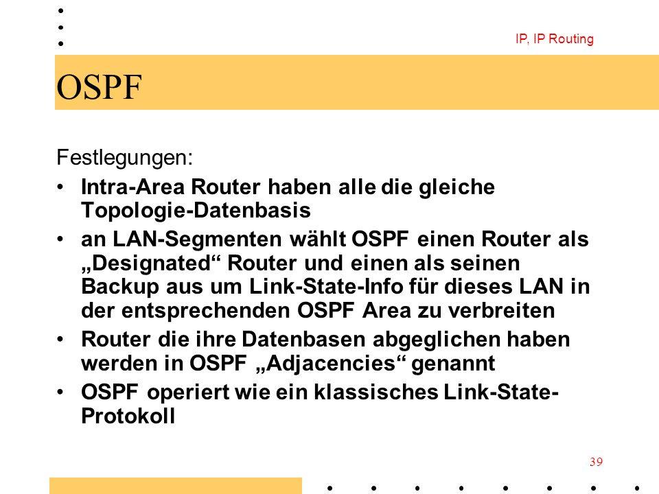 IP, IP Routing 39 OSPF Festlegungen: Intra-Area Router haben alle die gleiche Topologie-Datenbasis an LAN-Segmenten wählt OSPF einen Router als Design