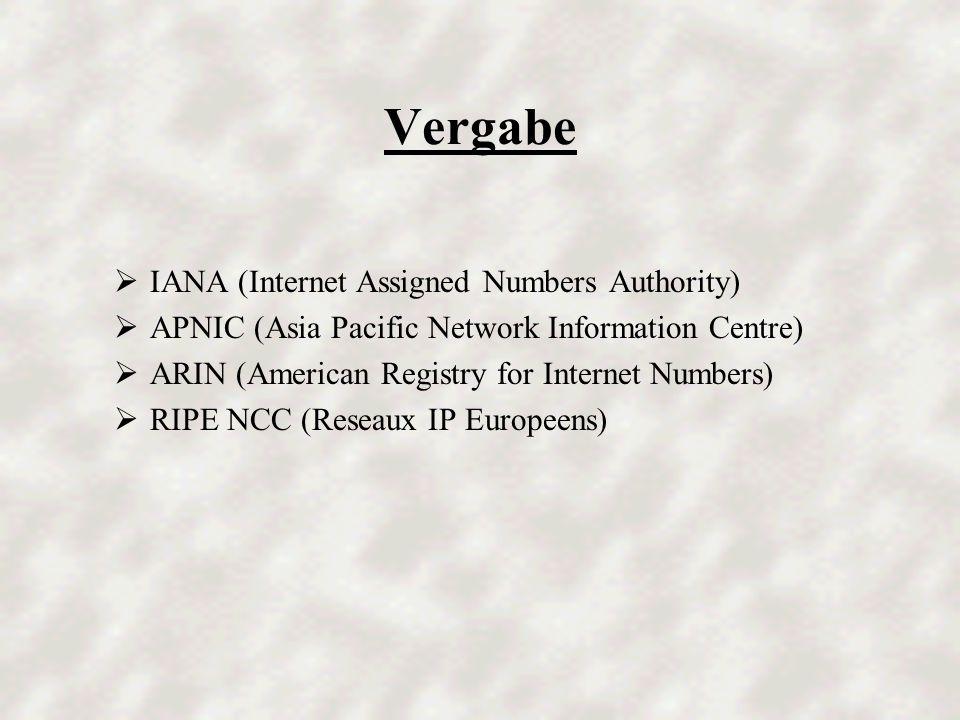 Aufbau IP-Adressen der Klasse A 1.Byte2. Byte3. Byte4.