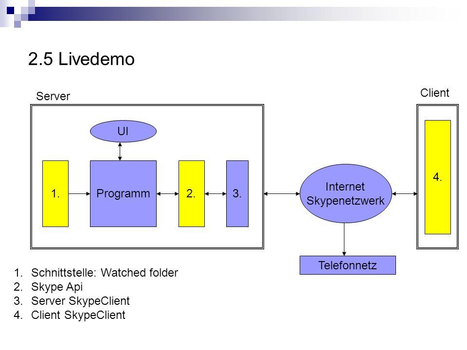 2.5 Livedemo Programm UI 1.
