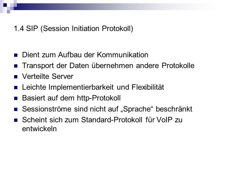 1.4 SIP (Session Initiation Protokoll) Dient zum Aufbau der Kommunikation Transport der Daten übernehmen andere Protokolle Verteilte Server Leichte Implementierbarkeit und Flexibilität Basiert auf dem http-Protokoll Sessionströme sind nicht auf Sprache beschränkt Scheint sich zum Standard-Protokoll für VoIP zu entwickeln