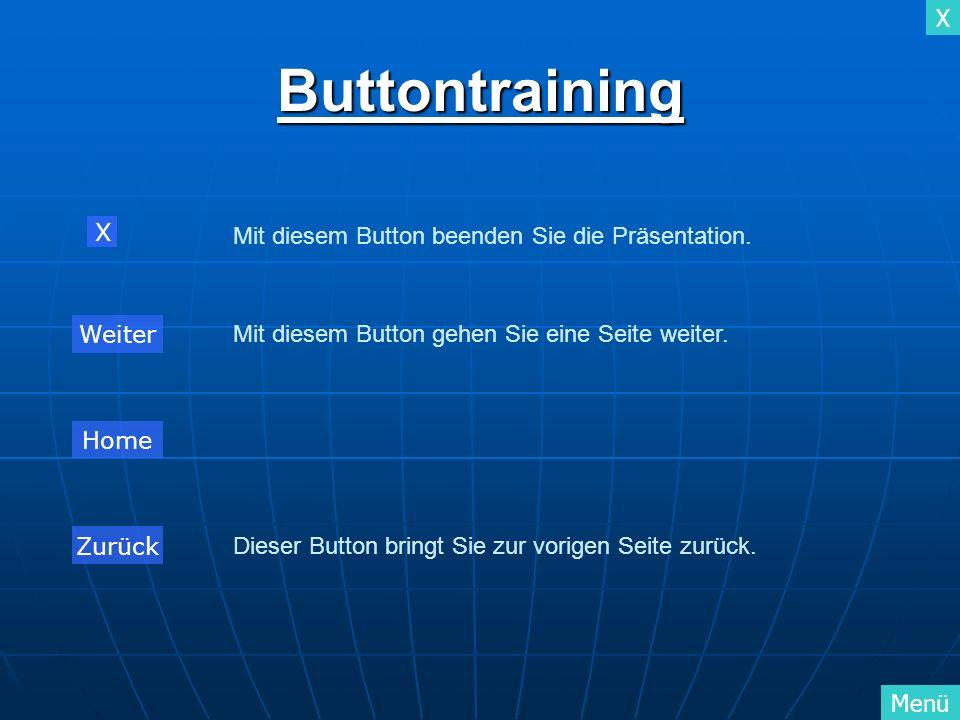 X MenüButtontraining Mit diesem Button gehen Sie eine Seite weiter. Dieser Button bringt Sie zur vorigen Seite zurück. Mit diesem Button beenden Sie d