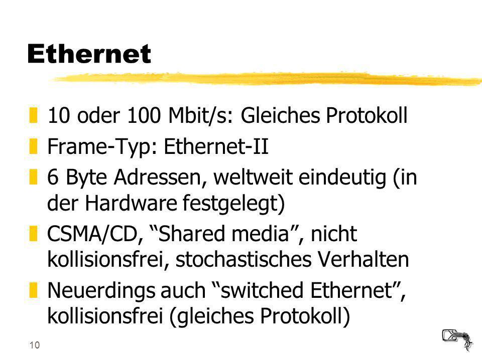 10 Ethernet z10 oder 100 Mbit/s: Gleiches Protokoll zFrame-Typ: Ethernet-II z6 Byte Adressen, weltweit eindeutig (in der Hardware festgelegt) zCSMA/CD