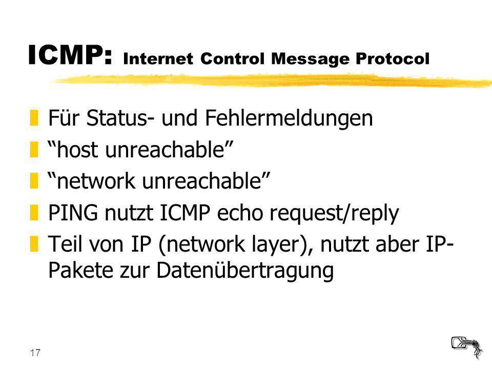 17 ICMP: Internet Control Message Protocol zFür Status- und Fehlermeldungen zhost unreachable znetwork unreachable zPING nutzt ICMP echo request/reply