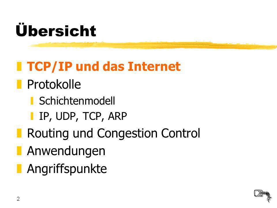 2 Übersicht zTCP/IP und das Internet zProtokolle ySchichtenmodell yIP, UDP, TCP, ARP zRouting und Congestion Control zAnwendungen zAngriffspunkte