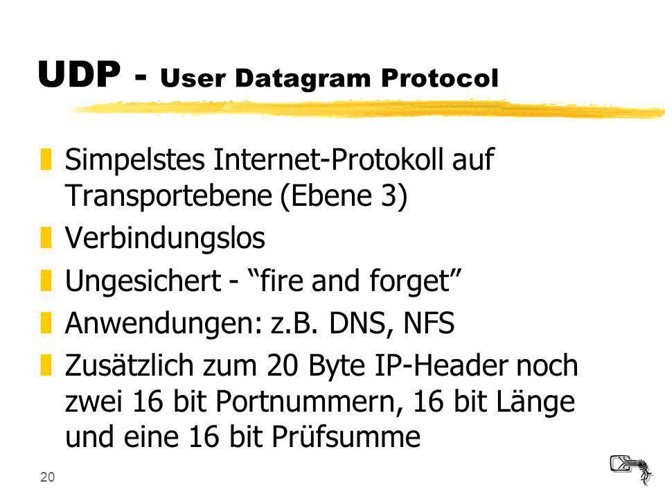 20 UDP - User Datagram Protocol zSimpelstes Internet-Protokoll auf Transportebene (Ebene 3) zVerbindungslos zUngesichert - fire and forget zAnwendunge