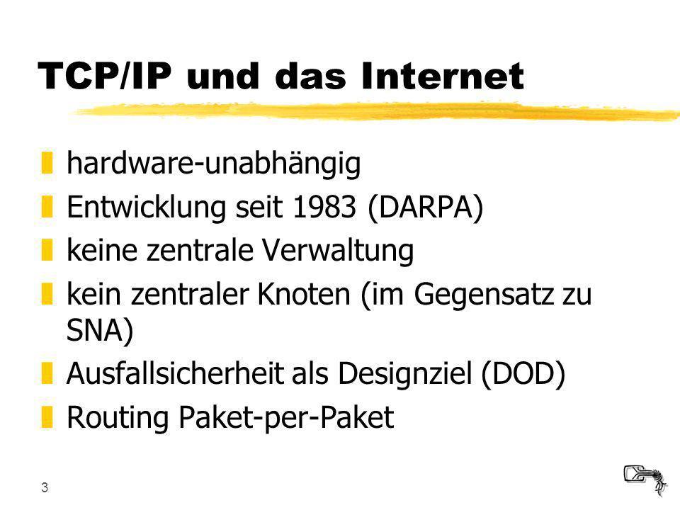 3 TCP/IP und das Internet zhardware-unabhängig zEntwicklung seit 1983 (DARPA) zkeine zentrale Verwaltung zkein zentraler Knoten (im Gegensatz zu SNA)