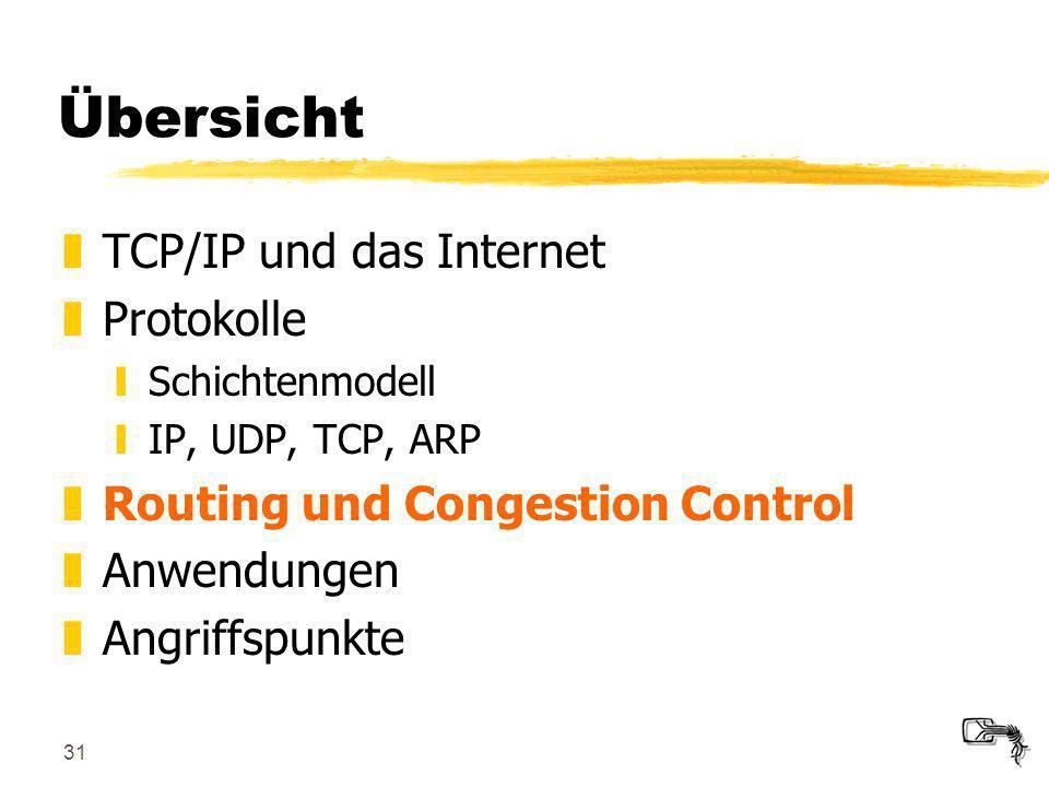 31 Übersicht zTCP/IP und das Internet zProtokolle ySchichtenmodell yIP, UDP, TCP, ARP zRouting und Congestion Control zAnwendungen zAngriffspunkte